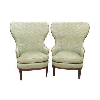 Neoclassical Style Sage Wingback Chairs - A Pair