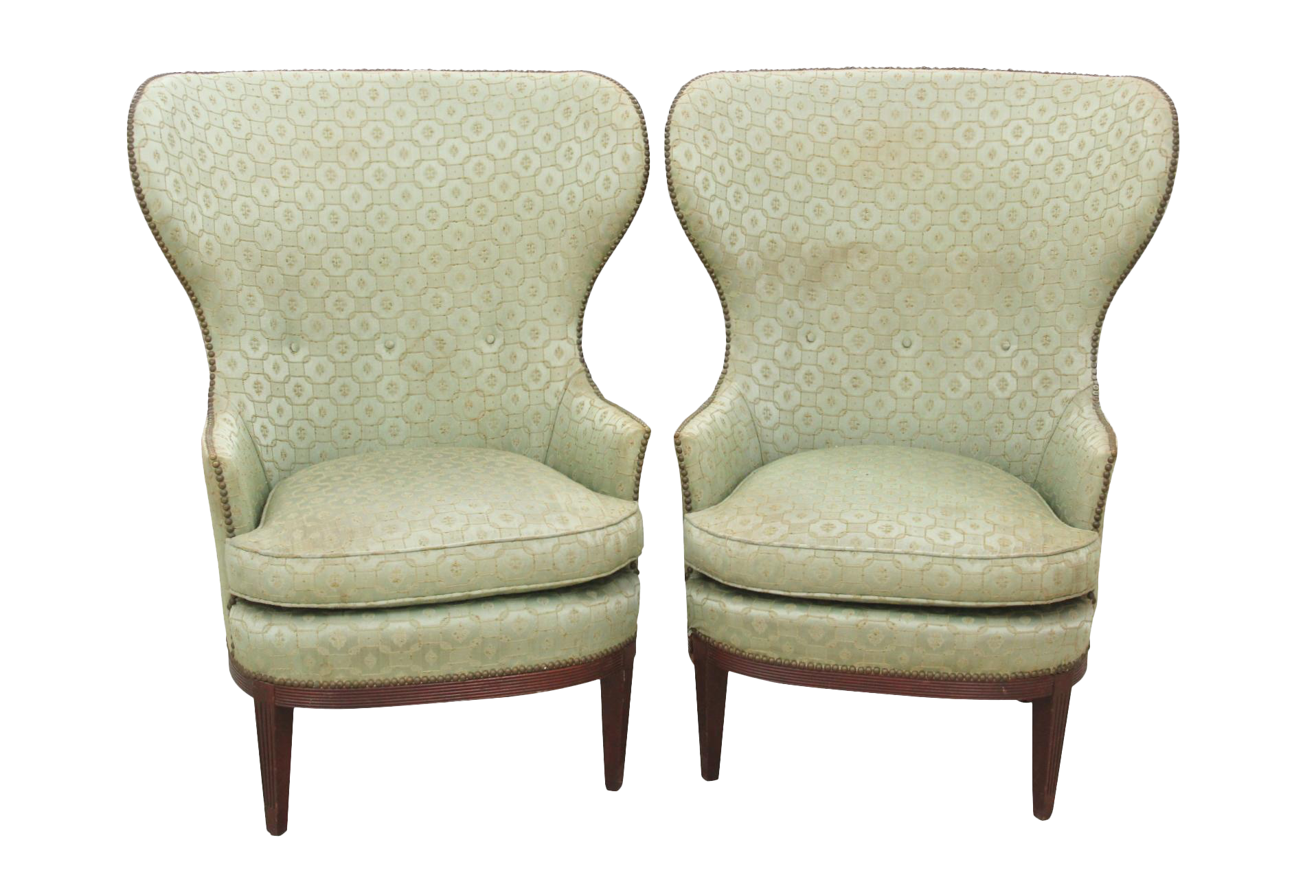 Neoclassical Style Sage Wingback Chairs   A Pair Part 64