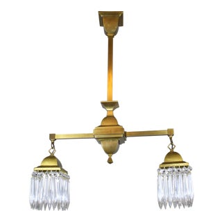 Mission Style Crystal Fixture Circa 1910 Satin Brass (2 Light)
