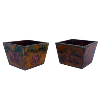 Vintage Chinese Wooden Orchid Boxes - A Pair