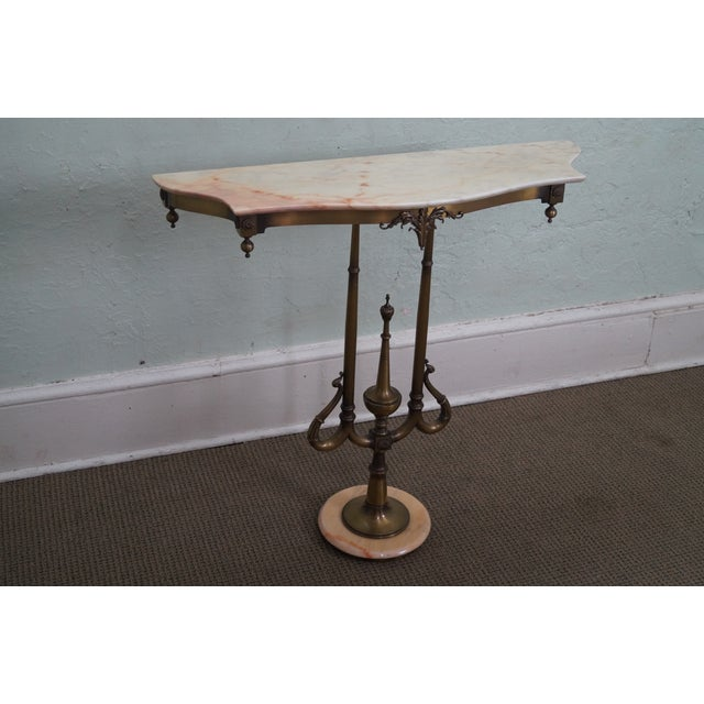 Italian Hollywood Regency Marble Top Console Table - Image 2 of 10