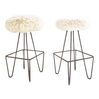 Vintage Weinding Stools Reupholstered in Brazilian Sheepskin - a Pair