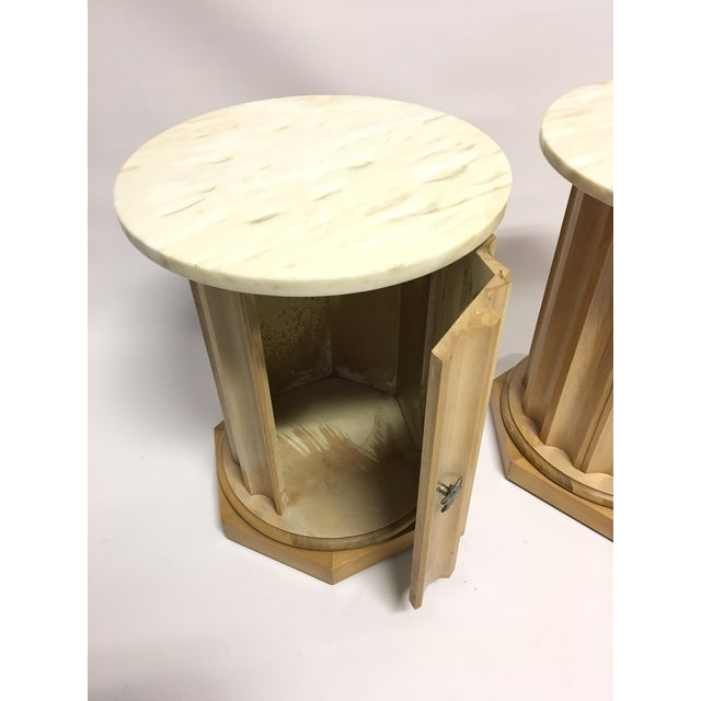 Medallion Column Cabinet Side Tables - A Pair - Image 5 of 5