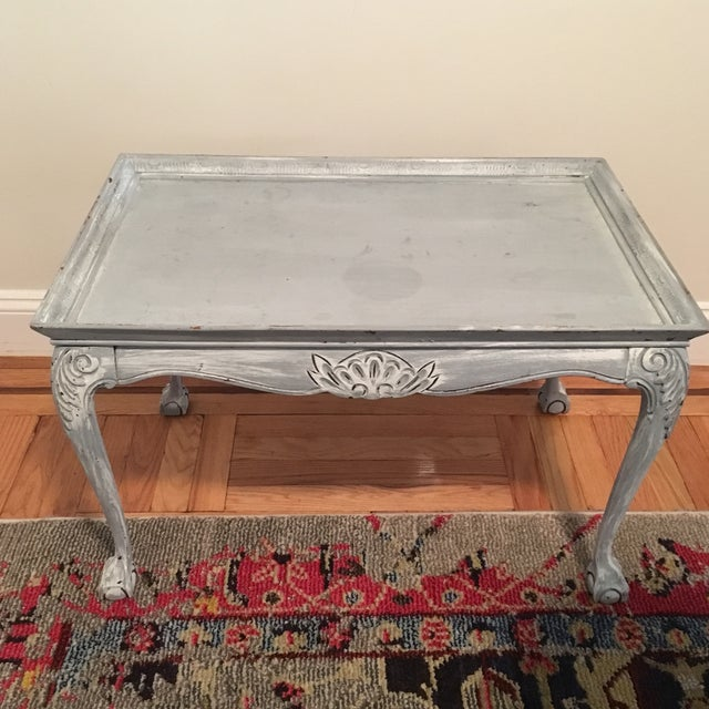 Light Blue Distressed Clawfoot Wooden Coffee Table - Image 2 of 5