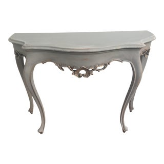 French Demilune Console Table With Gold Leaf