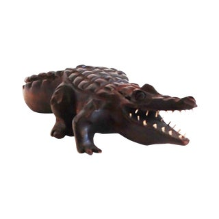Hand Carved Wooden Alligator from Cuba