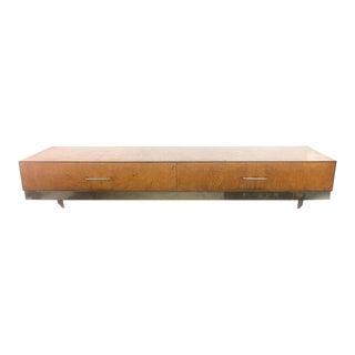 Mid-Century Burlwood Floating Console Table, Desk