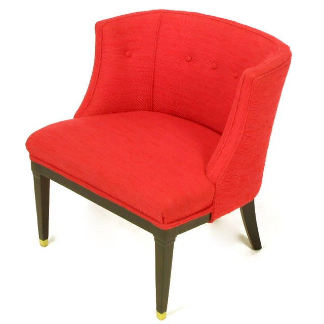 Image of Pair of Button Tufted Red Wool and Dark Walnut Pull Up Wing Chairs