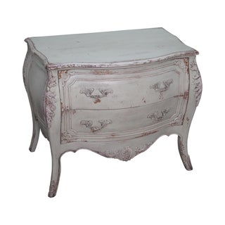 Habersham Distressed Painted French Louis XV Style Bombe Chest