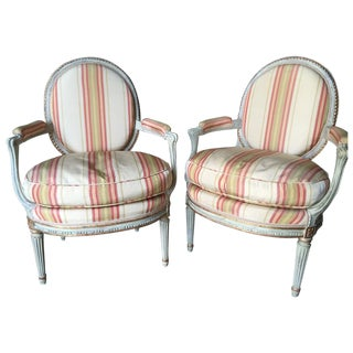 Striped Oval Back Louis XVI Armchairs - A Pair