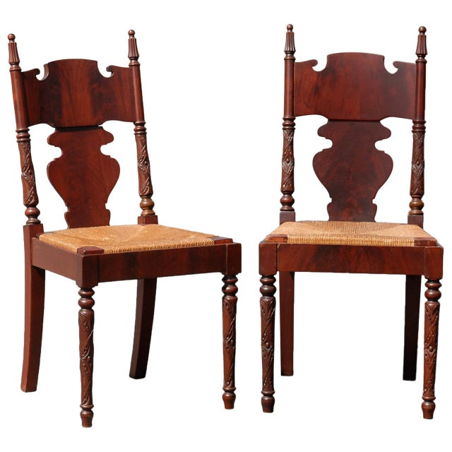 Image of r.j. Horner Empire Revival Hall Chairs - a Pair