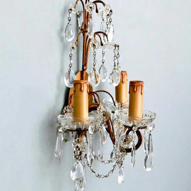 Image of Pair of French Three-Arm Crystal and Brass Wall Sconces