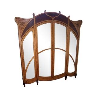 Antique French Art Nouveau Birdseye Maple & Walnut Armoire
