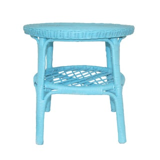 Vintage Round Aqua Blue Wicker Table
