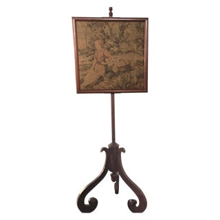 Antique Fire Screen - Walnut/Needlepoint C. 1880