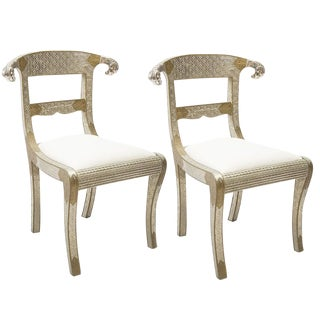 Anglo Raj Metal Clad Ram's Head Chairs - a Pair