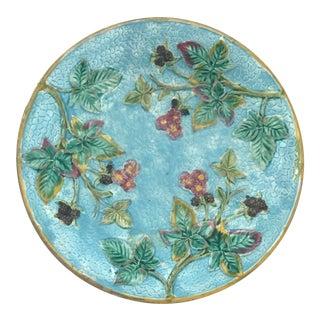 Berry & Flower Motif Majolica Plate
