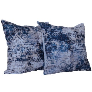 Asian Blue Distressed Print Pillow Covers - a Pair-16''