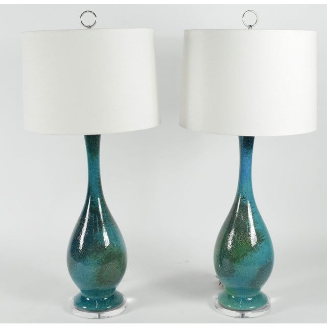 Royal Haegar Drip Glaze Lamps- A Pair - Image 2 of 5