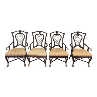 Maitland-Smith Carved Heart Shield Back Arm Chair - Set of 4
