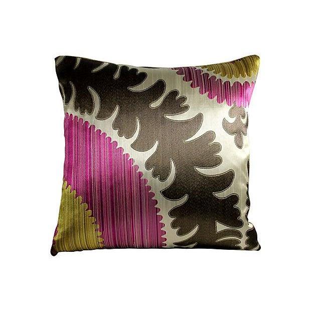 Donghia Silk & Velvet Suzani Accent Pillow - Image 2 of 3