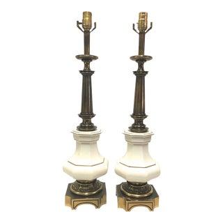 Porcelain Ivory & Brass Stiffel Lamps - A Pair