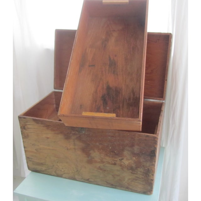 Primitive Rustic Wood Trunk Chest Crate Tool Chest - Image 9 of 11