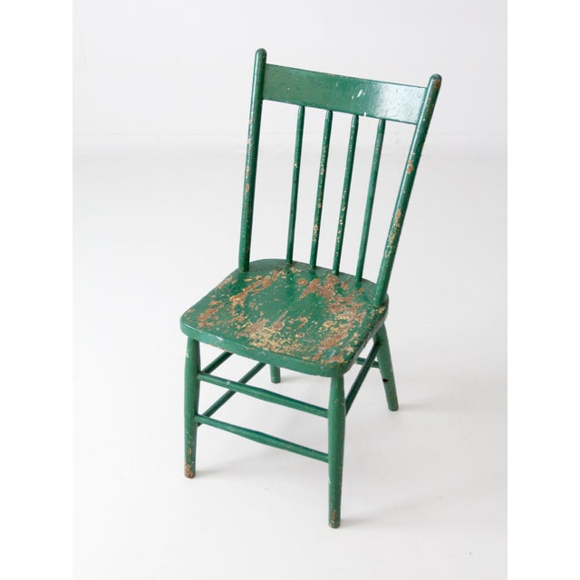 Antique green wood spindle back chair chairish