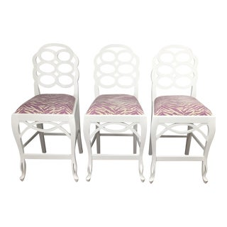White Lacquer Loop Counter Stools - Set of 3
