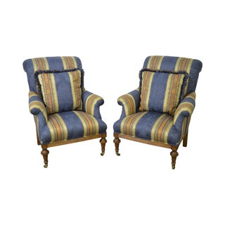 Regency Style Bergere Lounge Chairs - A Pair