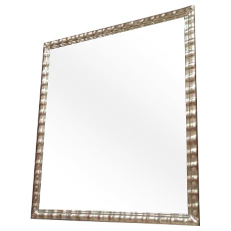 Huge White Gold Wood Mirror, Bevel Antique Finish - Image 1 of 8