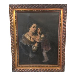 "Antique ""Mother With Child"" Oil Painting on Canvas"