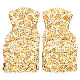 Brocade Slipper Chairs - A Pair