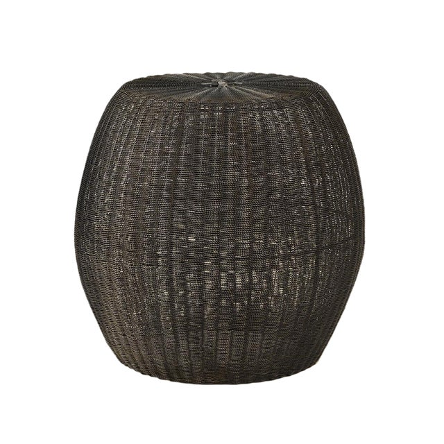 Blackened Wire Barrel Stool - Image 1 of 3