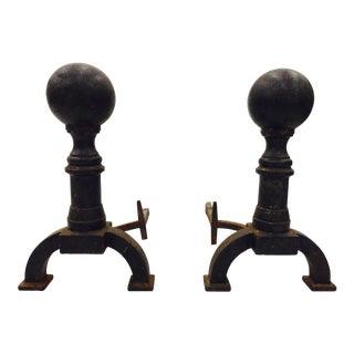 Antique Canon Ball Andirons - A Pair