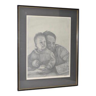 Circa 1960s Father and Son Pencil Portraits