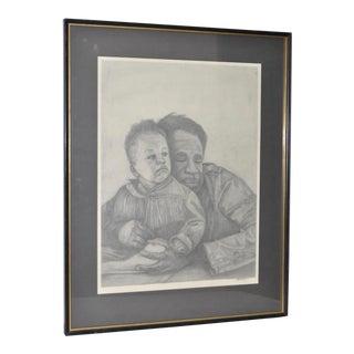 Circa 1960s Father and Son Pencil Portraits