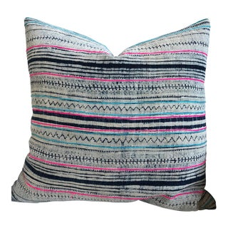 Pink and Navy Striped Pillow