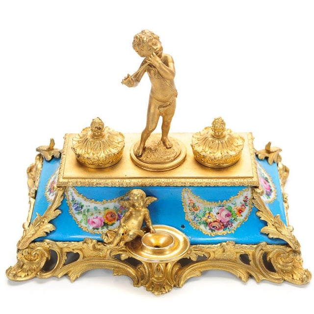 18th C. French Gilt Bronze & Porcelain Inkwell - Image 1 of 9