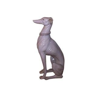 Hollywood Regency Porcelain Greyhound Statue