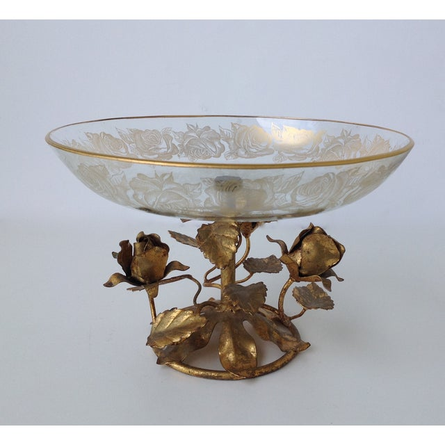 Gilt Italian Tole & 22k Gold Glass Center Bowl II - Image 2 of 8