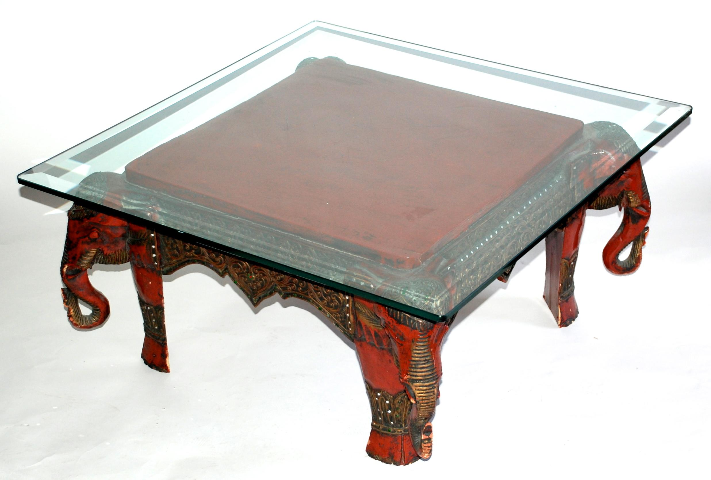 Vintage Lacquer Elephant Coffee Table