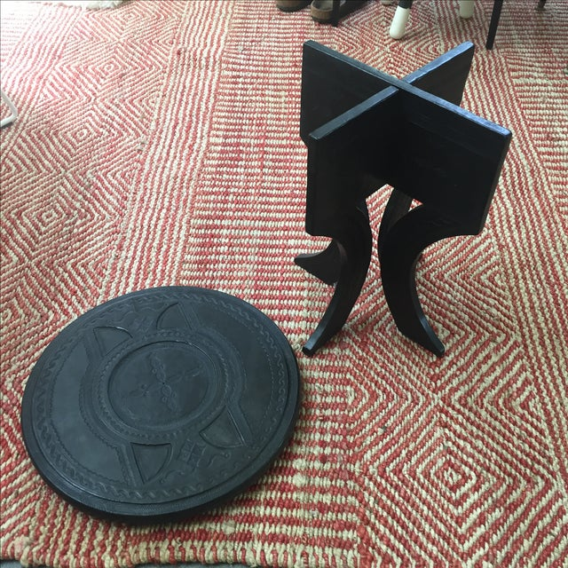 Leather Tooled Side Table in Moroccan Style - Image 6 of 6