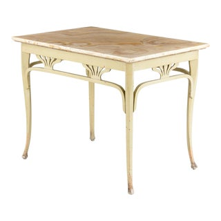 Art Nouveau Bentwood Painted Table With Onyx Top by Thonet