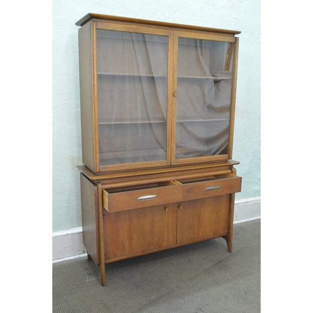 Drexel Projection Mid century Modern Walnut China Cabinet - Image 9 of 11