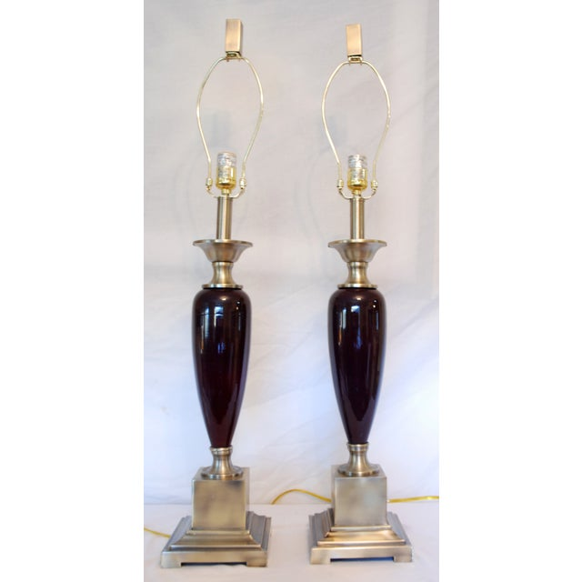 Image of Brushed Steel Transitional Maroon Lamps