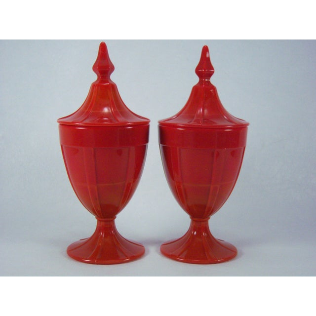 1920s Red Art Glass Covered Candy Containers - Image 5 of 8