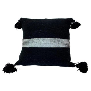 Silver & Black Moroccan Pom Pom Pillow