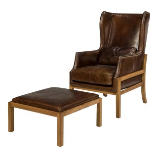 Sarreid Ltd Novem Wingback Chair & Ottoman