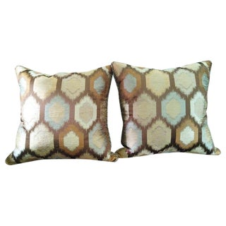 Brown Contemporary Feather Throw Pillows - A Pair